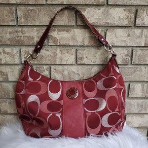 Coach Signature Stripe handbag large authentic bag
